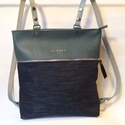 MOBILE BAG bőr háti és válltáska sötétkék alsó résszel, Mobile bag l, a felső része kétfunkciós, tehá...