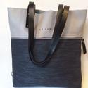 MOBILE BAG szürke bőr felsőrésszel-kék alsórésszel, Táska, Válltáska, oldaltáska, Hátizsák, Szatyor, Mobile bag limitált kiadású darabjainak egyike.  Mobile bag elnevezés abból adódik, hogy ez a táska ..., Meska