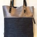 MOBILE BAG sötétezüst bőr felsőrésszel-kék alsórésszel, Táska, Válltáska, oldaltáska, Hátizsák, Szatyor, Mobile bag limitált kiadású darabjainak egyike.  Mobile bag elnevezés abból adódik, hogy ez a táska ..., Meska