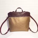 Mobile bag 2 részes hátitáska bordó-óarany, Táska, Válltáska, oldaltáska, Hátizsák, Szatyor,  Mobile bag elnevezés abból adódik, hogy ez a táska mobilokból áll. 1. mobil - felsőrész: tiszta bőr..., Meska