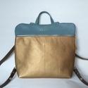 Mobile bag 2 részes hátitáska türkiz-óarany, Táska, Válltáska, oldaltáska, Hátizsák, Szatyor, Mobile bag elnevezés abból adódik, hogy ez a táska mobilokból áll. 1. mobil - felsőrész: tiszta bőr,..., Meska