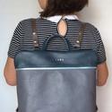 Mobile bag 2 részes hátitáska petrolkék-szürke bőr, Táska, Válltáska, oldaltáska, Hátizsák, Szatyor, Mobile bag elnevezés abból adódik, hogy ez a táska mobilokból áll. 1. mobil - felsőrész: tiszta bőr,..., Meska