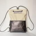 TEKLA bag törtfehér-ezüst kötéllel, Táska, Hátizsák, Válltáska, oldaltáska, TEKLA hátizsák. Ez a táska hátizsákként és átvetve is használható. Műbőr és marhabőr felhasználásáva..., Meska