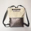TEKLA bag törtfehér-ezüst hevederrel, Táska, Hátizsák, Válltáska, oldaltáska, TEKLA hátizsák. Ez a táska hátizsákként és átvetve is használható. Műbőr és marhabőr felhasználásáva..., Meska