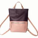 Tekla's hátizsák sötétlila-rózsaszín bőr vállpáttal, Táska, Hátizsák, Válltáska, oldaltáska, TEKLA's hátizsák. Marhabőr felhasználásával készül. mérete:  szélesség: 33 cm mélysége: 9 cm magassá..., Meska