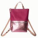 Tekla's hátizsák pink-fényesrózsaszín bőr vállpáttal, Táska, Hátizsák, Válltáska, oldaltáska, TEKLA's hátizsák. Marhabőr felhasználásával készül. mérete:  szélesség: 33 cm mélysége: 9 cm magassá..., Meska