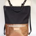 Tekla's bag fekete-rosegold , Táska, Hátizsák, TEKLA's hátitáska.  Cordura és marhabőr felhasználásával készült. mérete:  szélesség: 33..., Meska