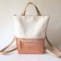 Tekla's bag törtfehér-rosegold , TEKLA's hátitáska.  Natúr vízlepergető vászo...