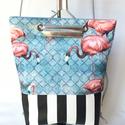 TEKLA EDEN hátitáska Flamingo-csíkos, Táska, Hátizsák, Tekla EDEN hátizsák-backpack.  Műbőr és textil felhasználásával készült. mérete:  szélesség: 33 cm, ..., Meska