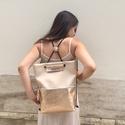 Tekla bag rosegold bőr zsebbel, Táska, Válltáska, oldaltáska, TEKLA hátitáska Műbőr és marhabőr felhasználásával készült. mérete:  szélesség: 34 cm, alja szélessé..., Meska