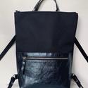 Tekla's bag hátitáska , táska fekete-fényes kék, TEKLA's hátitáska.  Cordura és marhabőr felhas...
