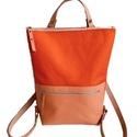 Tekla's bag hátitáska narancs-korall, Táska, Divat & Szépség, Táska, Hátizsák, TEKLA's hátitáska.  Cordura és marhabőr felhasználásával készült. mérete:  szélesség: 33 cm, alul 24..., Meska
