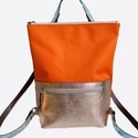Tekla's bag hátitáska narancs-narancsosarany, Táska, Divat & Szépség, Táska, Hátizsák, TEKLA's hátitáska.  Cordura és marhabőr felhasználásával készült. mérete:  szélesség: 33 cm, alul 24..., Meska