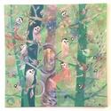 Madárság I. - festmény, Művészet, Festmény, Akril, Festészet, Akril festmény 58*58 cm-es vásznon. Tökéletes gyerekszobába vagy akár modern stílusú, kedves hangul..., Meska