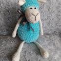 Aurél, a kék bárány amigurumi, Játék & Gyerek, Plüssállat & Játékfigura, Horgolás, Aurél, a kék bárány várja szerető gazdáját! Mérete: fejétől a lábáig 30cm, ülve 20 cm  A pihe-puha ..., Meska