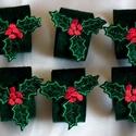 Karácsonyi hímzett szalvétagyűrűk, Dekoráció, Gyönyörű, filcből készült ünnepi hangulatú szalvétagyűrű, hogy a karácsonyi vacsora még meghittebb h..., Meska