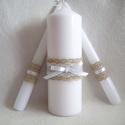 Vintage stílusú ceremónia gyertyaszett, Esküvő, Az esküvő egyik legszebb pillanatához, a gyertya ceremóniához szükséges három gyertyából álló szett...., Meska