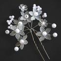 Sok virágos hajtű - fehér, Esküvő, Ékszer, Elegáns sok-sok hófehér virágból álló hajtű, melyek minden frizurát kiemelnek. A virágszir..., Meska