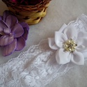 Gyönyörűség gyerek hajdísz, fejdísz , Gyerek & játék, Széles, rugalmas csipkés alapra készült hófehér muszlinból készült dupla virággal, valamint csillogó..., Meska