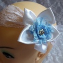 Kékség kislány fejdísz, hajdísz , Esküvő, Széles, rugalmas csipkés alapra készült szaténból és kék csipkéből készült virággal, valamint csillo..., Meska