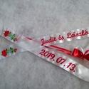 Hímzett esküvői vőfélyszalag kalocsai virág hímzéssel, Szatén szalagokból készült feliratos vőfélys...