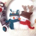 RENDELHETŐ!!! Ünnepváró amigurumi hóemberes, baglyos ajtódísz adventre, karácsonyra, Ünnepváró amigurumi hóemberes és bagolykás a...