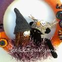 Boszorkányos macska bagoly - amigurumi, horgolt ajtódíszítő koszorú, Boszorkányos macska bagoly - amigurumi, horgolt a...