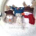 Ünnepváró amigurumi hóemberes, baglyos, cicás ajtódísz adventre, karácsonyra, Ünnepváró amigurumi hóemberes, baglyos, cicás...