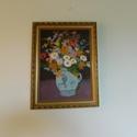 Virágcsendélet, Otthon & lakás, Képzőművészet, Festmény, Akril, Festészet, A festményt festővászonra, akrilfestékkel festettem. A festmény bekeretezett, lakásdekorációnak kiv..., Meska
