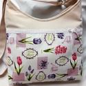 Romantikus táska-oldaltáska, Baba-mama-gyerek, Táska, Válltáska, oldaltáska, Varrás, Igazi romantikus táskát készitettem virágos  vászon díszitéssel.Erős,strapabíró,jó tartású.Bélése v..., Meska