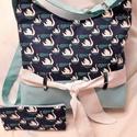 Hattyús táska-oldaltáska+neszesszer, Baba-mama-gyerek, Táska, Válltáska, oldaltáska, Varrás, Igazi romantikus táskát készitettem hattyú mintás  vászon díszitéssel.Erős,strapabíró,jó tartású.Bé..., Meska