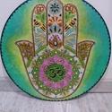 Hamsa (Fatima) keze mandala védelmező szimbólum, Képzőművészet, Otthon, lakberendezés, Napi festmény, kép, Falikép, Festett tárgyak, Festészet, 35 cm átmérőjű mandala, plexi lapra festve...Fatima keze: közel-keleti eredetű, általános védelmező..., Meska