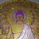 Buddha mandala, Képzőművészet, Otthon, lakberendezés, Napi festmény, kép, Falikép, Festészet, Mindenmás, 35 cm átmérőjű üveglapra készült Buddha mandala, melynek születését a nyugalom, béke állapotának el..., Meska