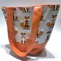 Rókás táska , Táska, Válltáska, oldaltáska, Varrás, Pamutvászonból és műbőrből (narancssárga rész, fül) varrtam ezt a táskát. A táskának van bélése, ké..., Meska