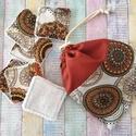 Mandala mintás arctisztító törlőkendő- négyzet  (7db+tároló), Mosható kozmetikai törlőkendő, pamutvászonbó...
