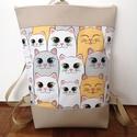 Cicás hátitáska, Cicás táska. A táska mintás textilből és tex...