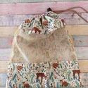 Erdei állatka mintás textil zsák/ öko zacskó , A zsák eleje pamutvászon és tüll  kombináció...