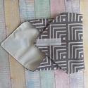 Szürke-fehér mintás újraszalvéta/ textil szalvéta, Mosható szalvéta uzsonna csomagolásához.  A sz...