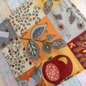 Almás / levél mintás textil újraszalvéta, Mosható szalvéta uzsonna csomagolásához.  A sz...