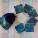 Kék-zöld-bordó batikolt mintás arctisztító törlőkendő- négyzet  (7db+tároló), Mosható kozmetikai törlőkendő, pamutvászonbó...
