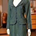 Borostyán kosztüm, Ruha, divat, cipő, Női ruha, Kosztüm, Szoknya, Selyemfestés, Varrás, Kézzel festett, kék-zöld színű, egyedi tervezésű és készítésű, szövet blézer és szoknya. 40-es mére..., Meska