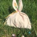 Hepphabit Húsvéti Ajándéktartó Nyuszi, Húsvéti díszek, Táska, Szatyor, Egyedi, saját készítésű pecsétekkel, kézzel nyomdázott  fülű, kis pamutvászon nyuszifej ajándéktartó..., Meska