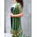 Tündér horgolt romantikus csipke stóla zöldben, Esküvő, Ruha, divat, cipő, Női ruha, Estélyi ruha,  Erdei Tündér horgolt csipke stólám zöldben, puha pamut fonal létrás csipke minta és romanti..., Meska