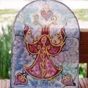 Dúdoló Angyal selyem ablakkép, Dekoráció, Otthon, lakberendezés, Kép, Varázskép sorozatom darabjai közül egy a Dúdoló Angyal mágikus varázskép... Saját zsűriztetett mintá..., Meska