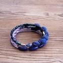 Tinta kék bohém karkötő kék  lila árnyalatban, Ékszer, óra, Karkötő,  Bohém textil és gyöngy karkötőm azoknak ajánlom akik szeretik az extravagáns megjelenést. Ez a dara..., Meska