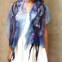Kék indás virágos nuno nemez sál,  Kék és lila árnyalatok kombinációja selyem s...