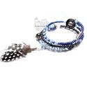 Kék tollas rojtos karkötő, Bohém gyöngy kollekcióm kék színű darabja. K...