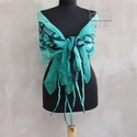 Zöld indás virágos nuno nemez sál, Zöld és feketeárnyalatok kombinációja selyem ...