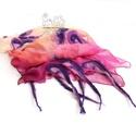 Pink virágos nuno nemez sál színátmenetes, Esküvő, Ruha, divat, cipő, Kendő, sál, sapka, kesztyű, Sál, Pink, barack és lila árnyalatok kombinációja selyem sálon merino gyapjúval bohém változatban..., Meska