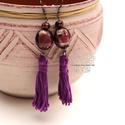 Lila rojtos bojt fülbevaló, Ékszer, Fülbevaló, Textil és gyöngy kollekcióm lila színű darabja. Bohém rojtos fülbevaló amolyan HErás fazon. Ha szere..., Meska